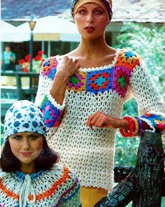 Granny Square Trimmed Loose Fitting Long Sleeved Lace Top PDF Vintage Crochet Pattern