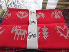2 Klippan Sweden Christmas Red Gray Birds Angels Stars Towels Unused Lotta Glave