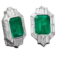 Art Deco Emerald and Diamond Earrings | From a unique collection of vintage clip-on earrings at http://www.1stdibs.com/jewelry/earrings/clip-on-earrings/