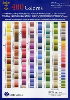 tabla de CONVERSION colores dmc | Amplio surtido de colores en hilos madejas de bordar a mano Anchor