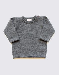 Alpaca baby and toddler sweater in natural grey with coconut buttons on the left shoulder. Toddler Sweater, Baby Alpaca, Coconut, Buttons, Shoulder, Natural, Grey, Sweaters, Clothes
