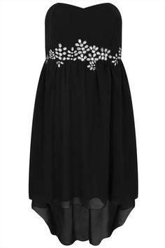 Bandeaukleid mit Strass  High Low Dip Hem Dress Praslin Chiffonkleid mit Nieten  Große Größen-Übergröße-Plus Size-Kleid- Strass-embellished