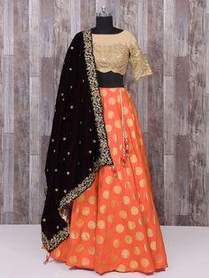 ee3731f74c279 orange jacquard two tone silk embroidered festival wear lehenga