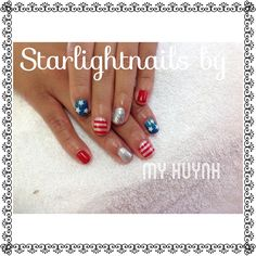 Gel nails with July 4th design