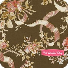 Incense & Peppermints Brown Roses and Ribbons Yardage SKU# 1347-01