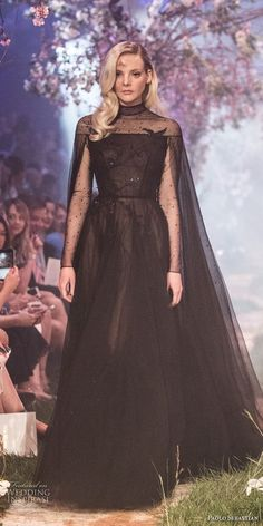 paolo sebastian spring 2018 couture long sleeves illusion high neck lightly embellished bodice elegant black soft a  line wedding dress (26) mv -- Paolo Sebastian Spring 2018 Couture Collection