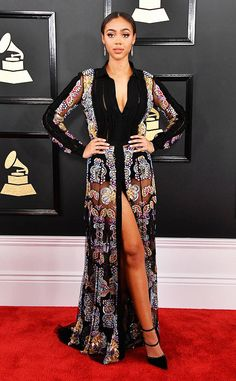 Bella Harris from Grammys 2017: Best Dressed Celebs  Love the sheer moments on this gorgeous model.