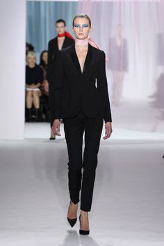 """Dior Spring Summer 2013 Ready-to-Wear – Look 2: Black wool single breasted """"Bar"""" tuxedo suit. Discover more on www.dior.com #Dior#PFW"""
