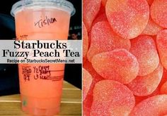 Starbucks Fuzzy Peach Tea Passion iced tea made with half water and half orange mango purée. Peach syrup instead of classic Frappuccino, Refreshing Drinks, Fun Drinks, Beverages, Non Alcoholic Drinks, Cocktails, Drinks Alcohol, Starbucks Secret Menu Drinks, Non Coffee Starbucks Drinks