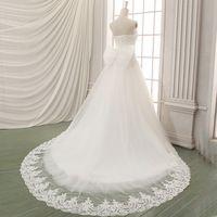 2017 Nova A Linha Bow Querida Off The Shoulder Mangas Tribunal Trem White Satin Vestido de Casamento Nupcial Do Vestido de Casamento 10464