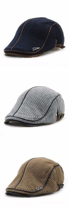 b50a9704d6741 $9.88 Six Colors Men Wool Knitting Beret Caps Newsboy Buckle Adjustable  Casual Outdoors Peaked Hat (