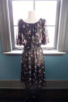 Vintage SHEER floral bohemian peasant by FolieAdeuxVintage on Etsy, $48.00