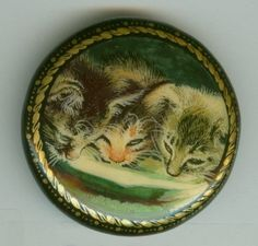 Vintage button - intricate painting of cats with a saucer of milk