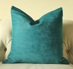 Decorative Teal Blue Pillow - Dark Turquoise Pillow Cover - Turquoise Throw Pillow - Chenille Solid Pillow
