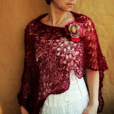 Burgundy SCARF, shawl, wrap, capelet with flower PIN---hand knitted - Flower: Love It By erricasmit - LoveItSoMuch