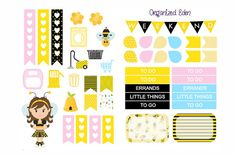 Bumble Bee Yellow Black Decorative Kit Weekly by OrganizedEden