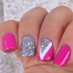 20 Pink Nail Art Designs You'll Want To Copy Immediately Fabulous Nails, Gorgeous Nails, Pretty Nails, Love Nails, Get Nails, Fancy Nails, Sparkly Nails, Glitter Nails, Matte Nails