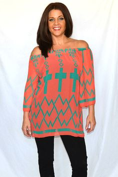 One Faith Boutique - Coral and Mint Sheer Cross Top, $37.00 (http://www.onefaithboutique.com/tops/coral-and-mint-sheer-cross-top/)