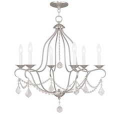 Livex Lighting - Chesterfield Brushed Nickel or Silver Leaf; $349/$454;   25w x 26h