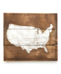 Dark Walnut & Off-White USA Map Wall Decor by DelHutson Designs.  I am going to make one of these on my own.