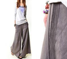 Moon forgot - linen skirt pants (K1206b). $58.00, via Etsy.