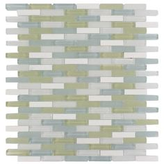 An ideal tile for a kitchen backsplash or bathroom surfaces, the glass and stone combination of Splashback's Cleveland Berkeley Mini Brick creates a beautifully multi-dimensional effect.