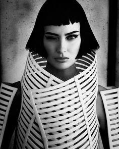 Model- Shalom Harlow Designer- Gareth Pugh Stylist- Patti Wilson Photographer- Lango Henzi Source: strangelycompelling.net - http://strangelycompelling.net/