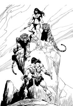 Shades of Gray: Picture Perfect Wednesday: John Buscema's Conan  tigers