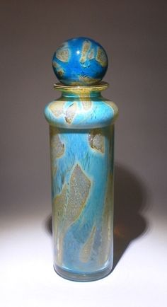 A large Michael Harris period Mdina glass stoppered bottle in the Rosenthal colour way.