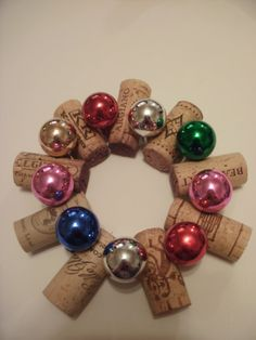 Mini Cork wreath with colored ornaments.