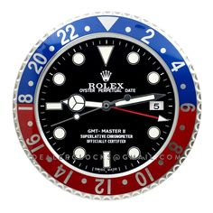 Dealer display wall clock based on the fantasy 116710 Rolex GMT Master II series.