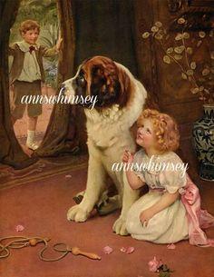 Hide and Go Seek Art Print, Little Girl and St. Benard Dog Art #415