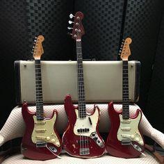A trio of original 60s Fender guitars in Candy Apple Red. #fendervintage #candyapplered #fendercustomcolor #originalvintage #fenderjazzbass #fenderstratocaster #fb
