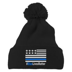 Blue Lives Matter Embroidered Knit Pom Cap