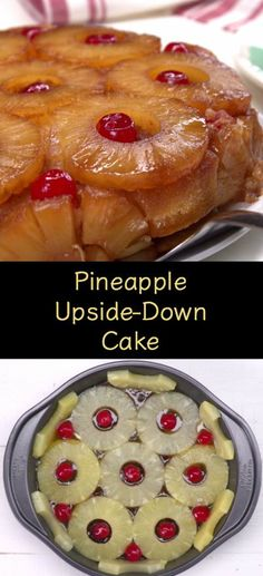 This homemade Pineapple Upside-Down Cake recipe tastes like the tropics and packs presentation appeal. Köstliche Desserts, Delicious Desserts, Dessert Recipes, Fun Recipes, Dessert Bars, Appetizer Recipes, Pineapple Recipes, Pineapple Cake, Homemade Pineapple Upside Down Cake Recipe