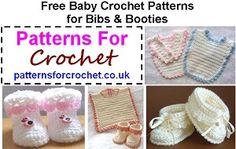 Free baby bibs & booties crochet patterns http://www.patternsforcrochet.co.uk/baby-bibs-booties.html #patternsforcrochet