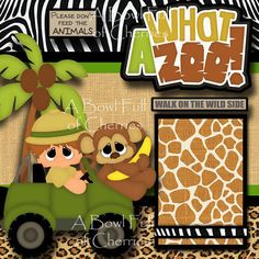WHAT A ZOO 2 boy premade scrapbook pages paper piecing layout 4 album BY CHERRY