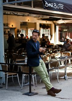 http://chicerman.com  meninthistown:  Being green.  Similar look:Ted Baker London Badchin Green Chinos.  #streetstyleformen