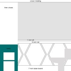 Hexagon design on wainscoting either with paint or trim.