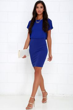 Half the Fun Royal Blue Midi Dress at Lulus.com! 44