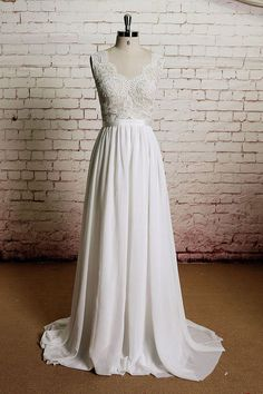 Vintage style wedding dress fabricated with French lace and high quality chiffon, finished with a chapel length train. Processing Time Standard processing time is approx 8 weeks, peak season may be lo #weddingdress