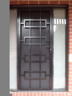 unique blasck colored security door with minimalist crafts with full length door sidelight Window Grill Design Modern, Grill Door Design, Door Gate Design, Window Design, Steel Grill Design, Screen Design, Home Design, Unique House Design, Gate Designs Modern