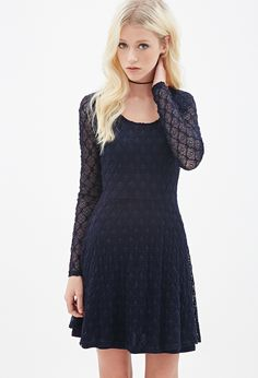 Geo Lace Fit & Flare Dress