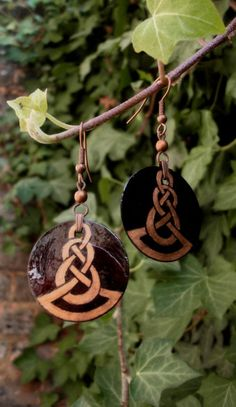 Round Dangle Celtic Knot Pattern earrings by HandPaintedJewellery, £8.00