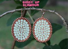 Pink Panache Rose Gold Oval Earrings with Solid Crystals in Mint