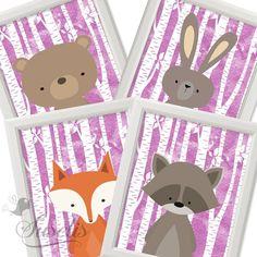 Set of 4 Woodland Animals Printable Nursery Printable by Suselis