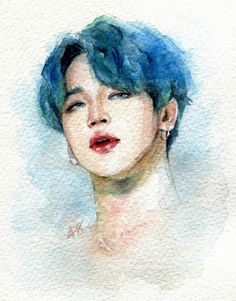 Kpop Drawings, Pencil Art Drawings, Art Drawings Sketches, Jimin Fanart, Kpop Fanart, Watercolor Drawing, Painting & Drawing, Foto Jimin, Bts Chibi