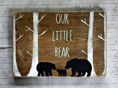 Our Little Bear Rustic Nursery Decor, Mama Papa and Baby Bear Rustic Wood Sign, Tribal Wall Decor, Reclaimed Wood, Kids Bedroom Decor