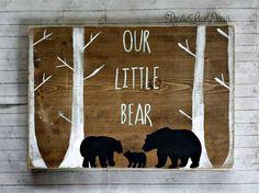 Our Little Bear Rustic Nursery Decor, Mama Papa and Baby Bear Rustic Wood Sign, Tribal Wall Decor, Reclaimed Wood, Kids Bedroom Decor