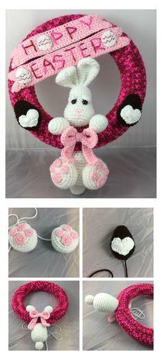 Crochet Hoppy Easter Wreath pattern